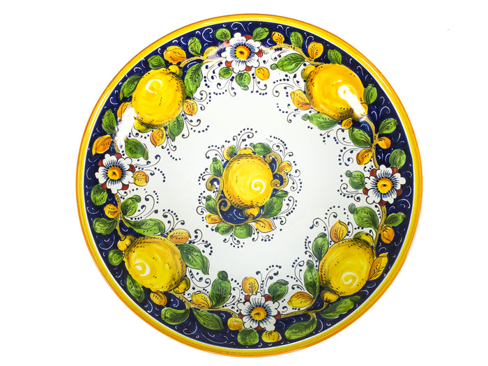 "Borgioli - Lemons on Blue Salad Bowl 40cm (15.7"")"