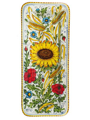"Borgioli - Sunflower on White - 25cm x 55cm Rectangular Platter (9.8"" x 21.6"")"