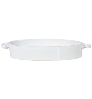 Vietri Lastra Handled Oval Baker in White