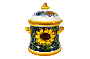 Borgioli - Sunflower on Blue Small Canister