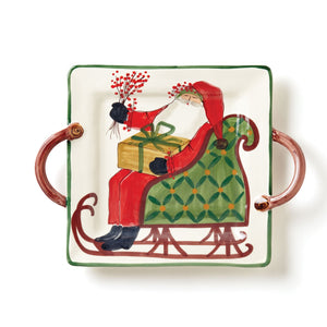 Old Saint Nick Square Handled Platter