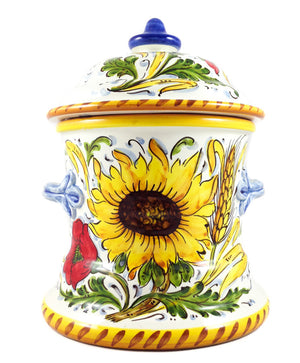 Borgioli - Sunflower on White - Large Canister