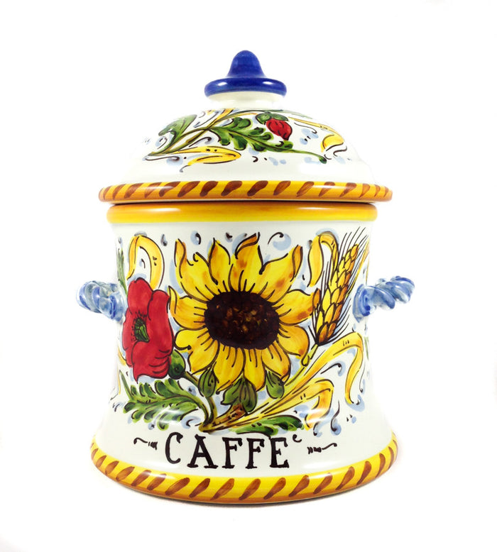 Borgioli - Sunflower on White Medium Canister
