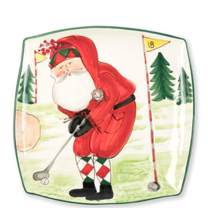 Old Saint Nick Square Platter - Golfing