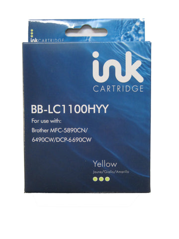 Compatible Brother LC1100HYY Yellow Ink Cartridge