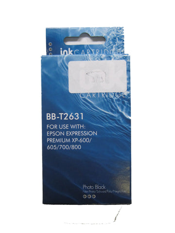 Compatible Epson 26XL T2631 Photo Black Ink Cartridge Polar Bear C13T26314010