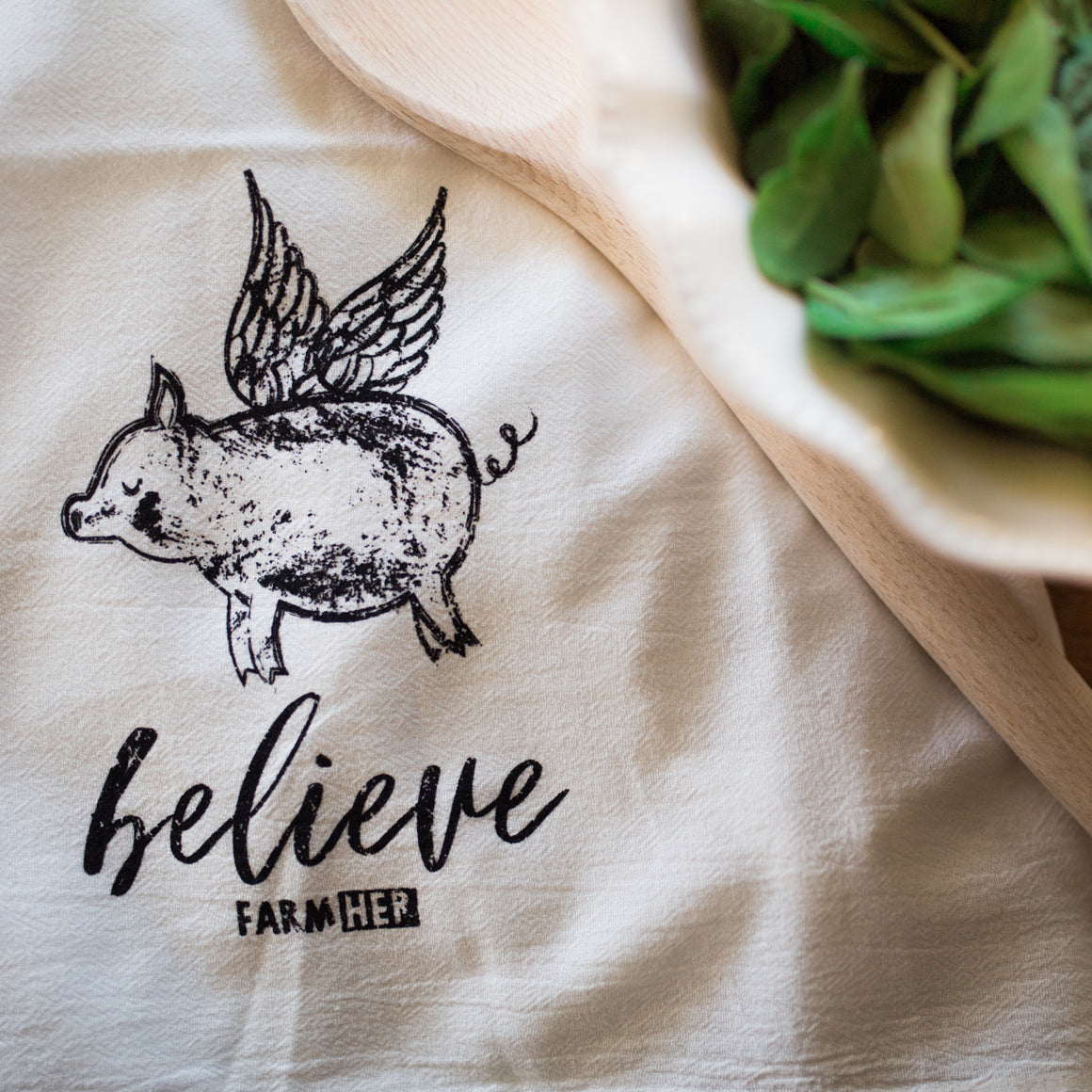 "FarmHer 'Believe Pig"" Towel"