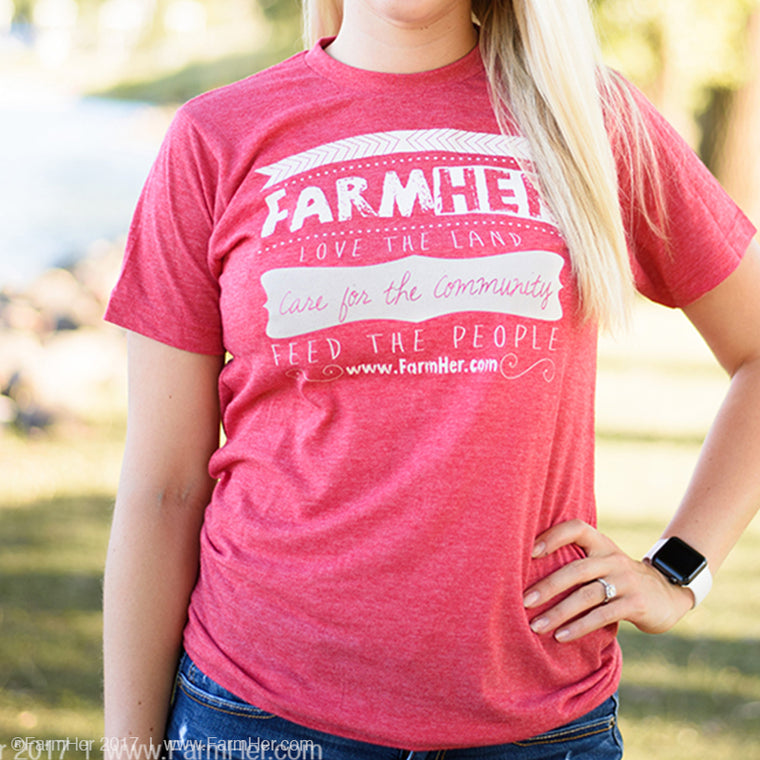 "FarmHer ""Love The Land"" Red Non-Fitted T-Shirt"