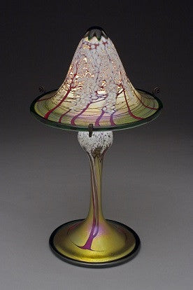 Small Gold Cherry Blossom Flared Shade Lamp