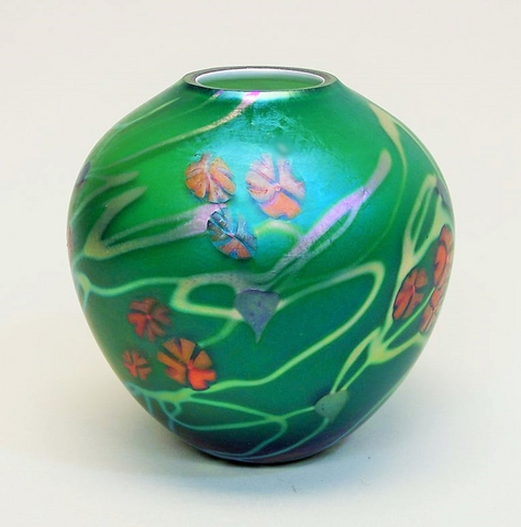 Emerald California Poppy Cabinet Vase