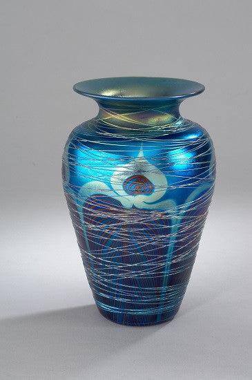 Blue Peacock Wrapped Medium Vase Designed by Carl Radke