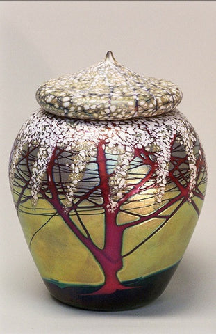 Short Gold Cherry Blossom Lidded Jar