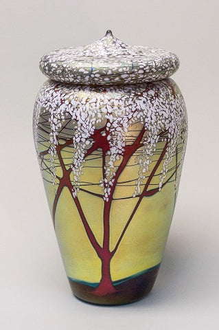 Tall Gold Cherry Blossom Lidded Jar