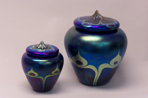 Blue Peacock Lidded Jar