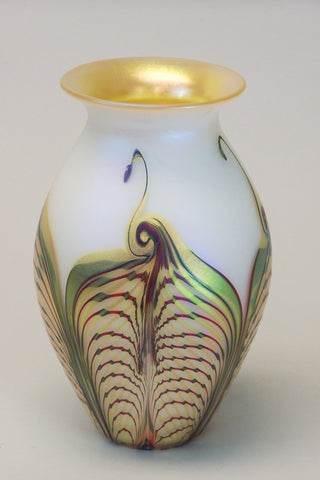 Opal Gold Double Feather Medium Vase