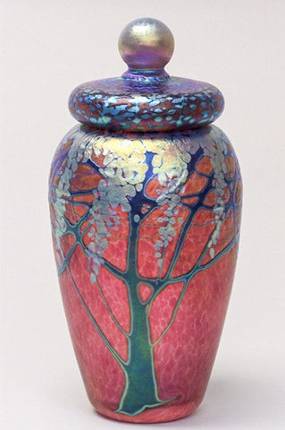 Small Ruby Wisteria Lidded Jar