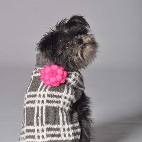 Chilly Dog Grey Plaid With Flower