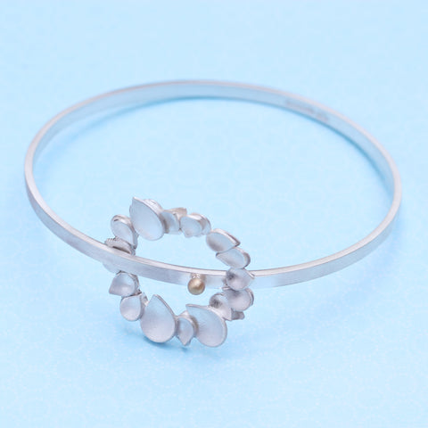 Dewdrop Halo Two Tone Statement Bangle