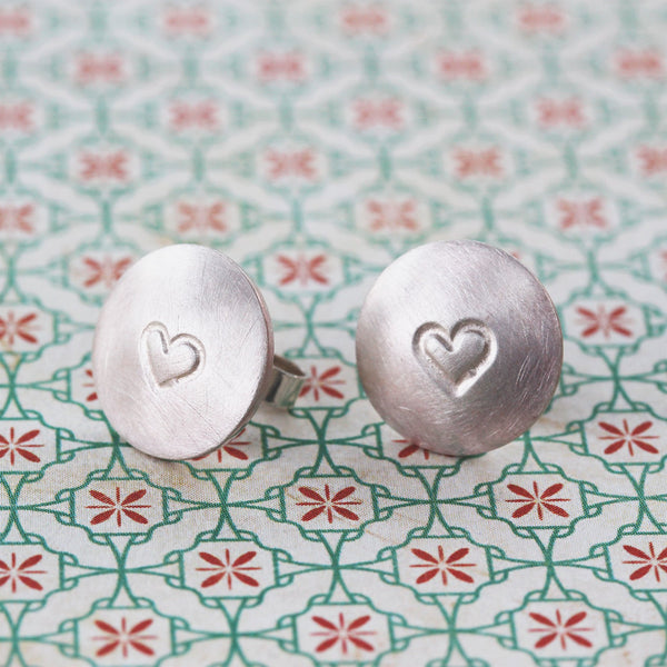 Sterling silver disc earrings with stamped heart