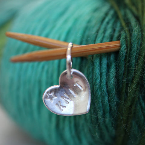 Craft Silver Heart Stitch Markers - Personalised