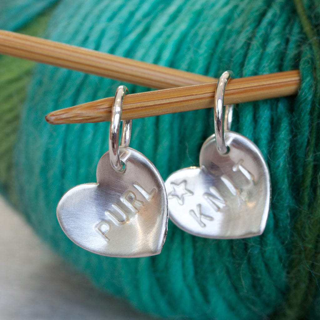 Personalised Craft Silver Heart Stitch Markers