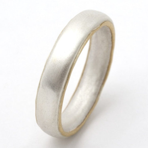 Thin silver ring with 18ct gold edges