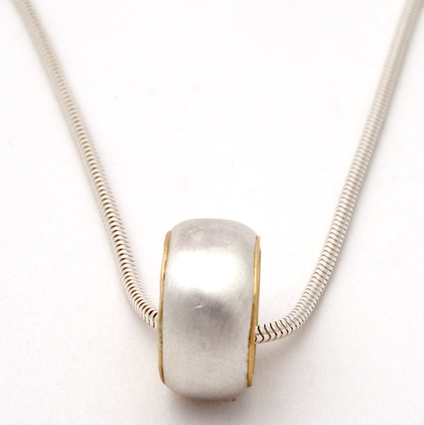 Small silver and gold ring necklace