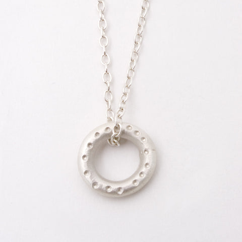 Dotty Silver Circular Pendant Necklace