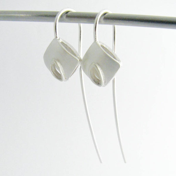 Long Silver Wire Leaf Cushion Earrings