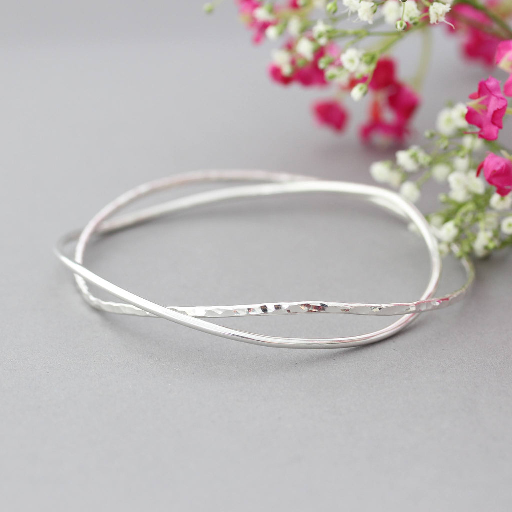 Minimalist Skinny Silver Stacking Bangles