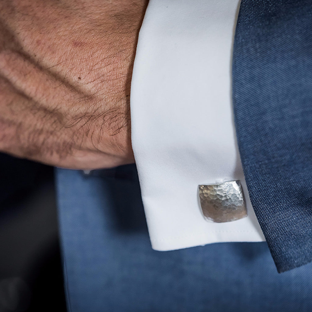 Heritage Hammered Square Silver Cufflinks