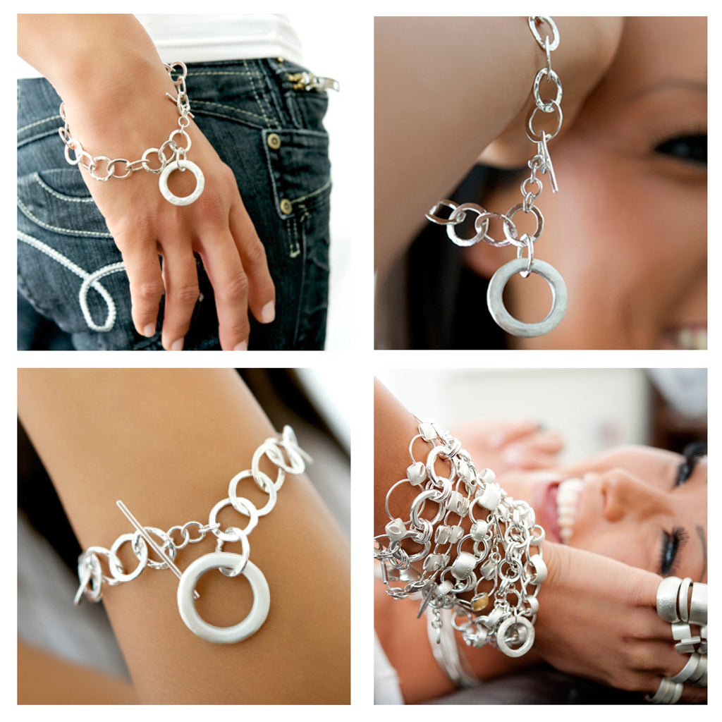 Olympia Silver Ring Charm Bracelet