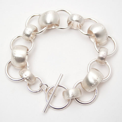 Dotty Double Ring Silver Bracelet