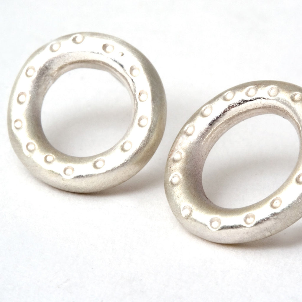 Sterling silver dotty donut stud earrings