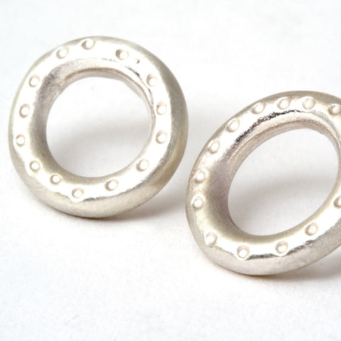 Small Silver Dotty Donut Studs