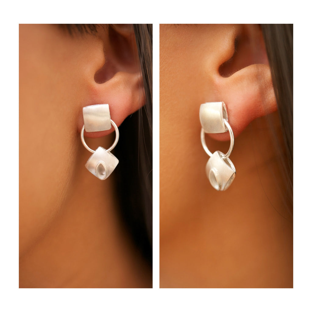 Harlequin Silver Cushion Double Drop Earrings