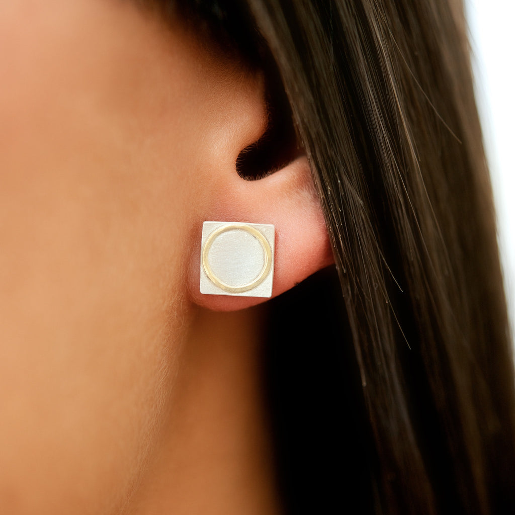 Sterling Silver Square Studs With 18ct Yellow Gold Circle Detail on ear