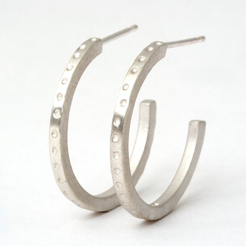 Skinny handmade dotty hoop earrings
