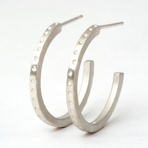 Dotty Skinny Silver Hoop Earrings