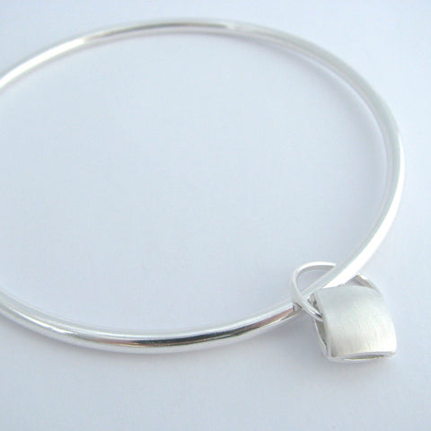 Revere Cushion Silver Charm Bangle