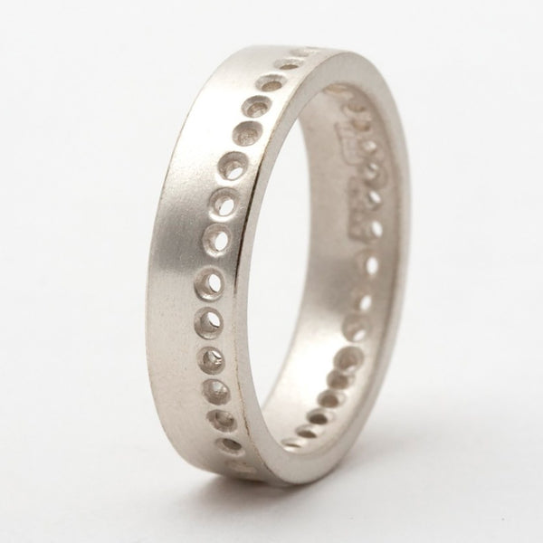 Silver Dotty Drilled Detail Ring