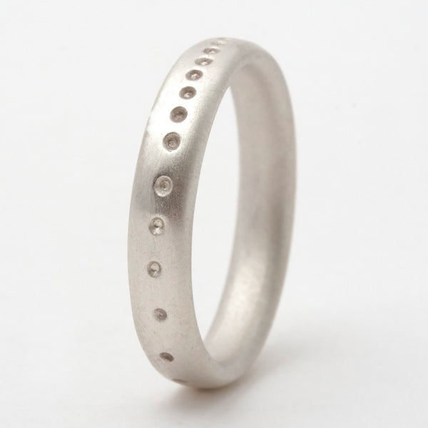 Dotty Slim Silver Wedding Band – Personalised