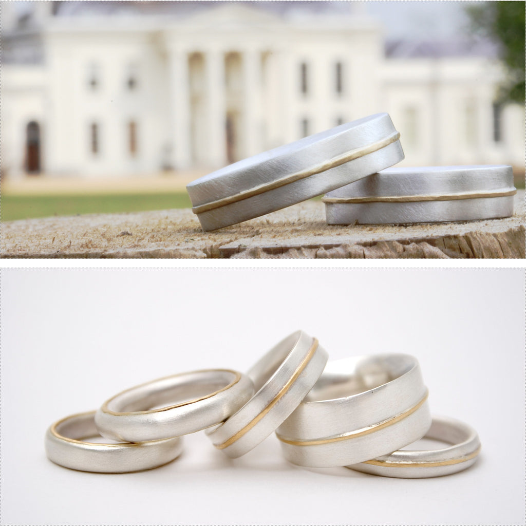 Gold lines selection of wedding rings