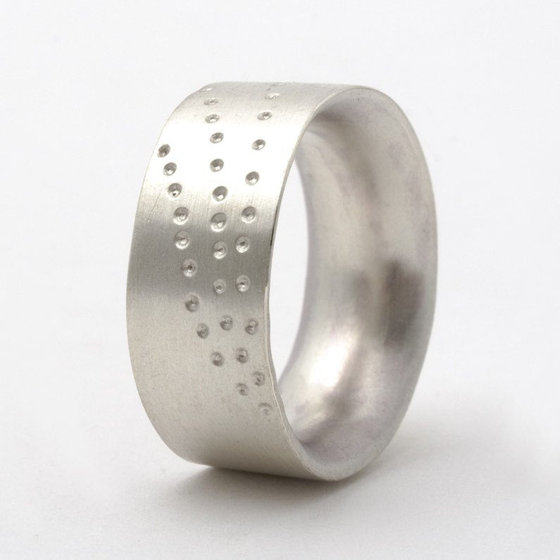 Chunky silver dotty ring
