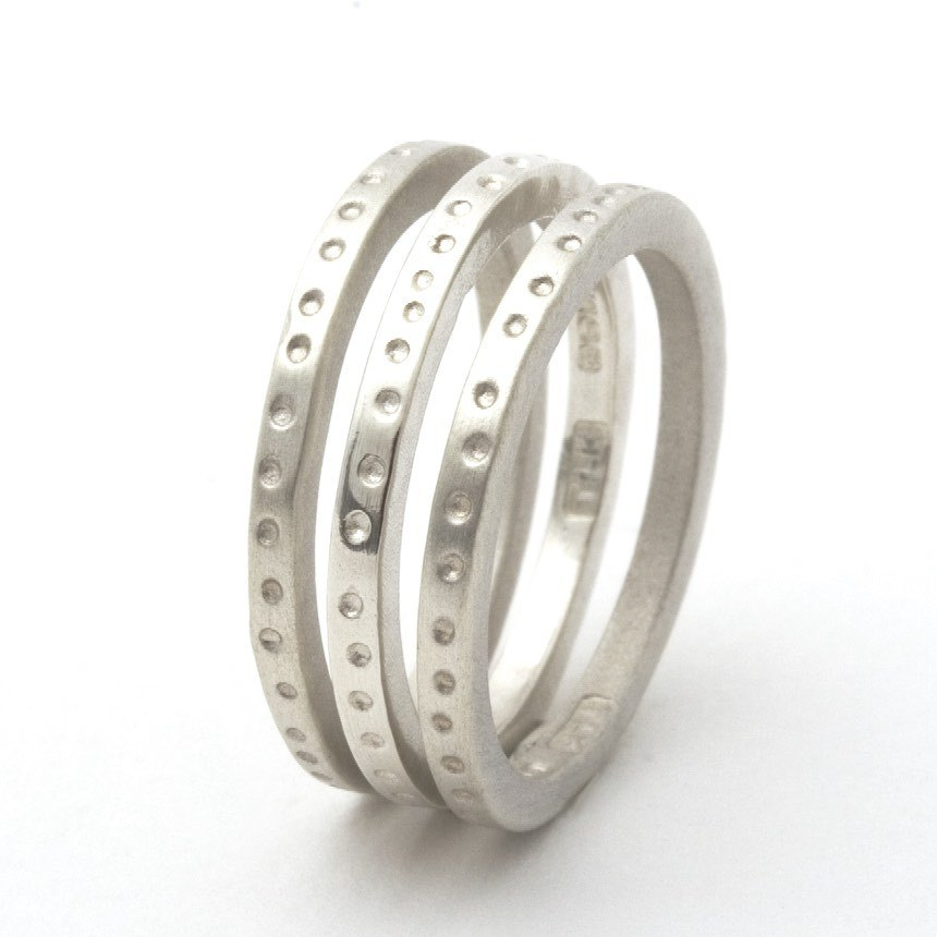 Skinny Dotty Silver Stacking Rings - Personalised