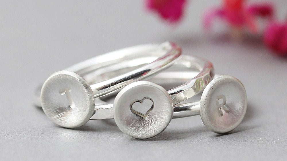 TLK Sterling Silver Stacking Rings - Personalised