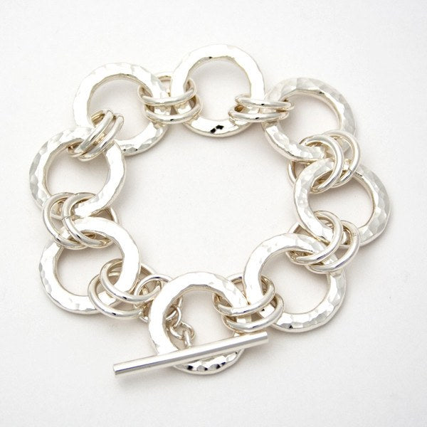 Chunky hammered ring bracelet