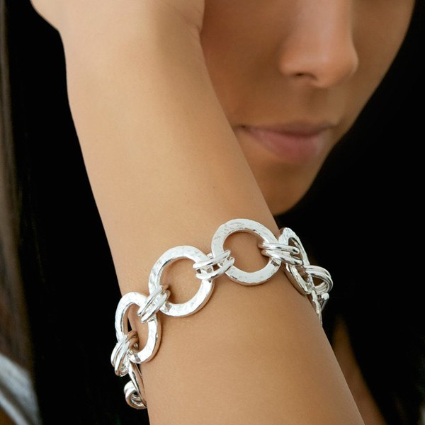 Chunky hammered ring bracelet shown on model