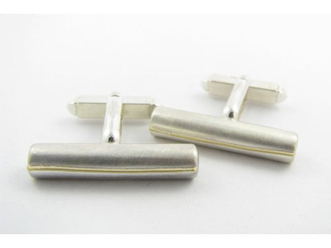 Sterling silver bar cufflinks with gold line detail