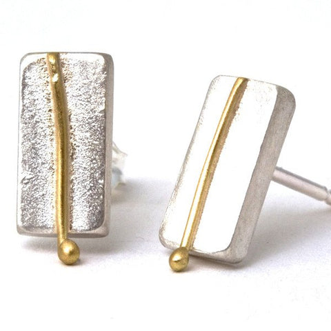Elements Silver & Gold Rectangle Stud Earrings